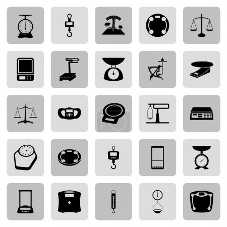 Illustration for 25 web icon set - scales, weighing, weight, balance - Royalty Free Image