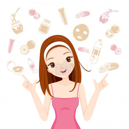 Girl With Health Skin Face And Body Icons Set