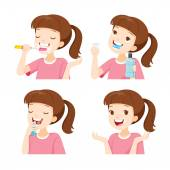 Girl Cleaning Teeth Set