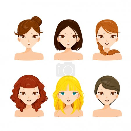 Young women faces with various hairstyles