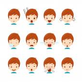 Emoticon icons set of cute boy with various emotions