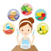 Roztomilá dívka připravené k jídlu 5 potravinových skupin