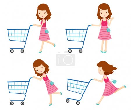 Girl pushing empty shopping carts with various actions set
