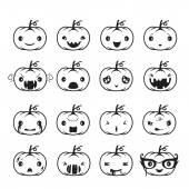 Pumpkin Emoticons Set Monochrome