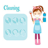 Girl With Toilet Cleaning Equipment And Outline Icons Set