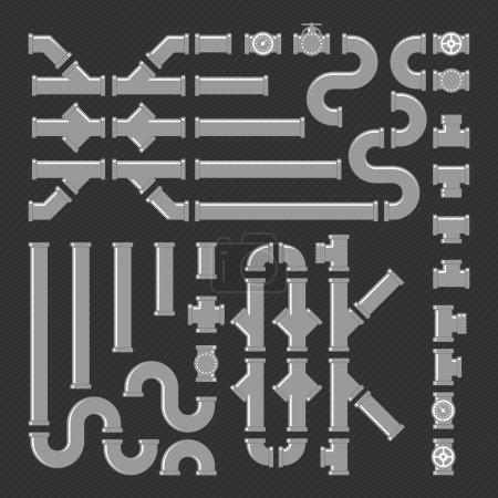 Illustration pour Raccords de tuyauterie icônes vectorielles ensemble. Illustration vectorielle de l'industrie des tubes, pipeline de construction, système de drainage. Ensemble de tuyaux, raccords et vannes. Construction de canalisations en PVC. Kit personnalisable vectoriel . - image libre de droit