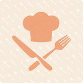 Szakácsok kalap kést és a villát