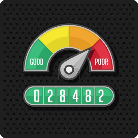 Illustration for Indicators and gauges. Manometer pressure gauge icons. Vector illustration on perforation background. - Royalty Free Image