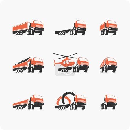 Set of vector truck.
