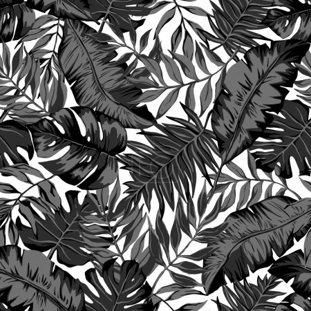 vector seamless beautiful graphical artistic tropical pattern