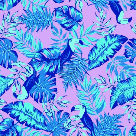 vector seamless bright graphical tropical pattern with leaves, toucan bird