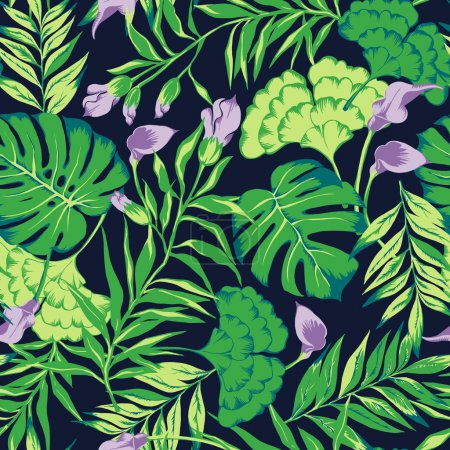 vector seamless hand drawn beautiful artistic tropical pattern with flowers.