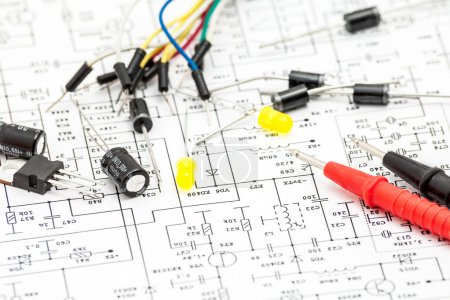 Photo for Electronic components on curcuit diagram - Royalty Free Image
