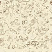Fast food coloring book design vector line art