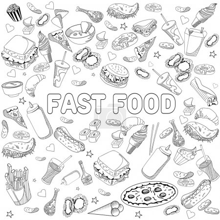 Fast food coloring book design vector line art