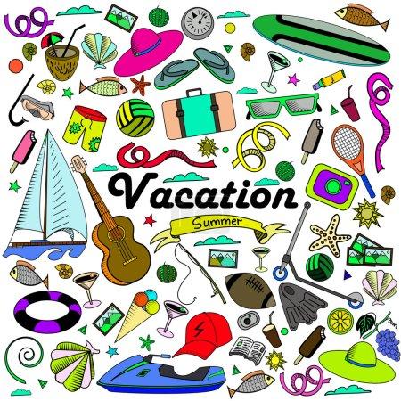 Vacation line art design vector illustration