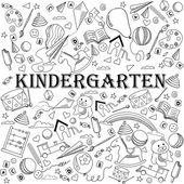Kindergarten line art design vector illustration