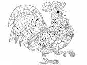 Cock coloring book vector for adults