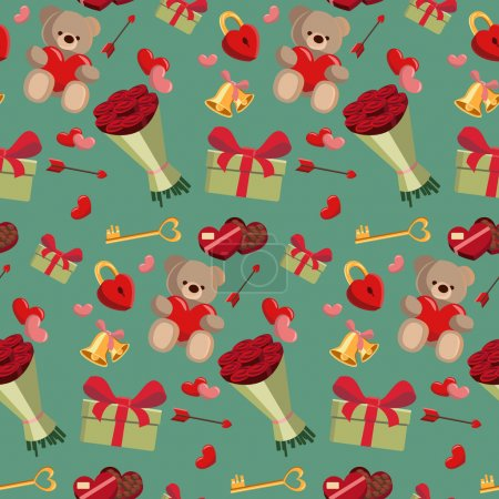 Cartoon romantic seamless pattern on Valentine`s day. Abstract wallpaper, background with valentines, present, bouquet of roses, chocolate candies, teddy bear and lock.