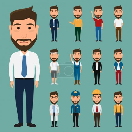 Illustration for Set of character man. people character. - Royalty Free Image