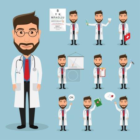 Illustration pour Ensemble de caractère de médecin à l'hôpital. soins de santé. icône hôpital . - image libre de droit