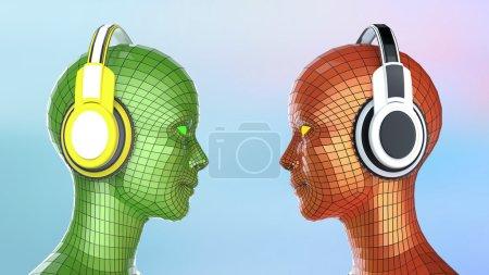 Photo pour Deux têtes de fille-robot disco colorées avec des yeux brillants dans de gros écouteurs face à l'autre, modèle d'affiche de musique isolé rendu 3d - image libre de droit