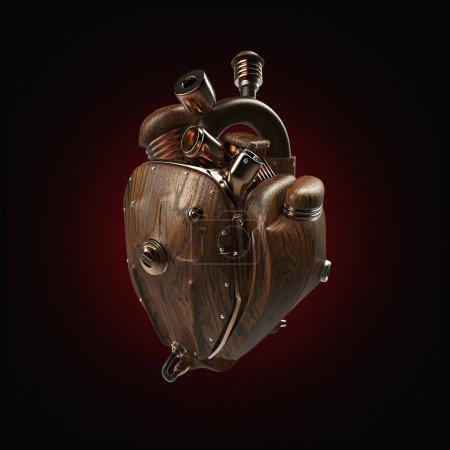 Photo pour Steampunk mecha robot techno coeur. moteur avec tuyaux, radiateurs et pièces de capot en bois. vélo montrent rock modèle d'affiche hardcore isolé - image libre de droit