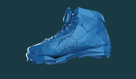 Photo for Colorful diamond sports shoes, low poly sneakers with hard edges and shiny faces. Sports fitness achievement metaphor. Isolated 3d rendering - Royalty Free Image