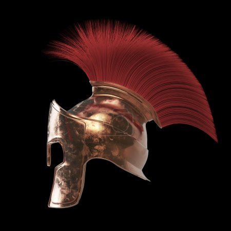 Photo pour Casque spartiate de haute qualité, guerrier romain grec Gladiator, soldat héroïque légionnaire, ventilateur de sprts, rendu 3D isolé - image libre de droit