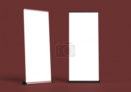 Blank roll up banners  template. rendering isolated on color background mockup