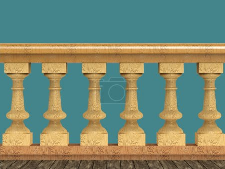 Vintage balustrade decorative railing made of wood stone and metal isolated high quality render