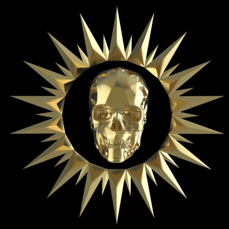 Photo for Shiny gold metal skull on matte golden plate with shiny metal spikes around,isolated on black, pirates crest. 3d render - Royalty Free Image