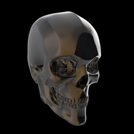 dark shiny polished metal skull render isolated on black background s