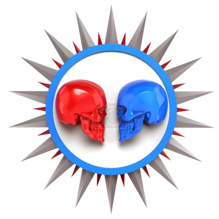 red vs blue metallic painted shiny skulls on white plate with shine spike star around, render. isolated   background, dj battle poster template