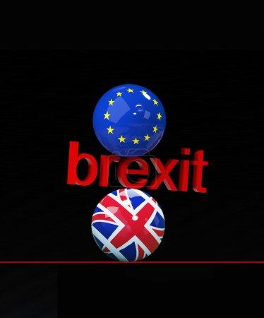 3d illustration of equilibrium in Europe 2 - Brexit