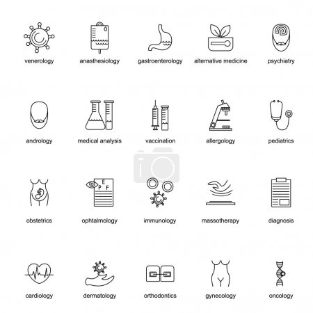Set of icons for different medical professions.