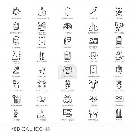 Vector line icons with medical symbols.