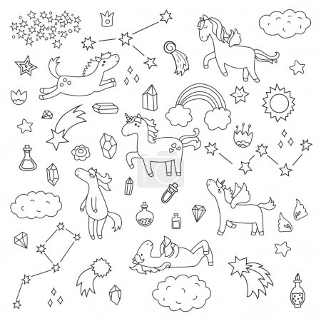 Photo pour Mignonne collection licorne et poney avec des objets magiques, arc-en-ciel, ailes de fées, cristaux, nuages, potion. Style ligne dessinée à la main. Illustrations vectorielles de gribouillis . - image libre de droit