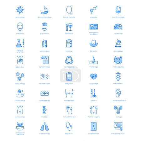 Vector line icons with medical symbols specialization.