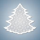 Christmas tree with geometric pattern Laser Cutting template