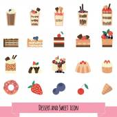 deserts and sweets set vector illustration Line icon