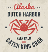 Alaska t-shirt design print typography label with king crab