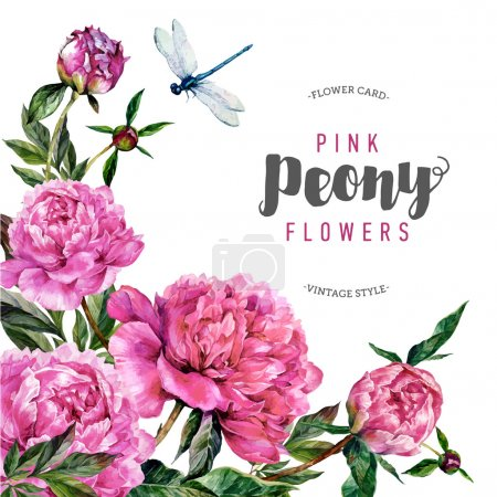 Illustration for Hand drawn watercolor greeting card template with pink peonies, green leaves and dragonfly. Botanical illustration in trendy vintage style. - Royalty Free Image