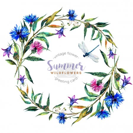 Illustration for Hand drawn watercolor wildflower wreath with cornflowers, bells, thistles, willow leaves and dragonfly isolated on white background. Realistic illustration in trendy vintage style. - Royalty Free Image