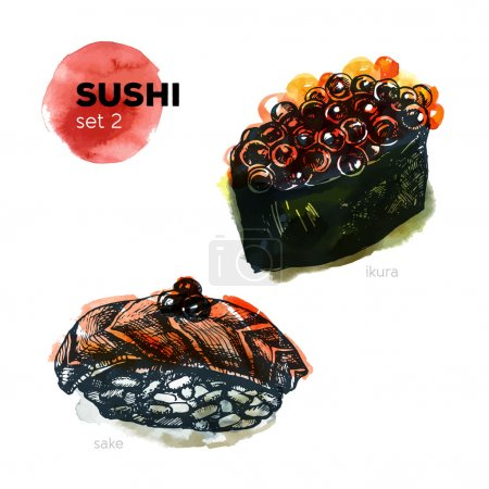 Hand Drawn Sushi Set.