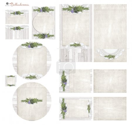 White wash board with rosemary herb sprig and flowers vintage paper text box Set2