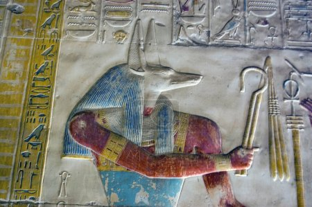 Close up of a painted hieroglyphic carving of the ...