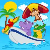 Animals on boat ride with monkey on hang glider