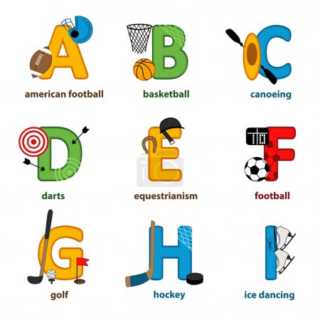 Alphabet sport from A to I - vector illustration, ...