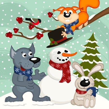 Illustration pour Animaux font bonhomme de neige - illustration vectorielle, eps - image libre de droit